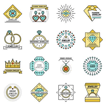 Jewellery icon set. Outline set of jewellery vector icons thin line color flat isolated on white