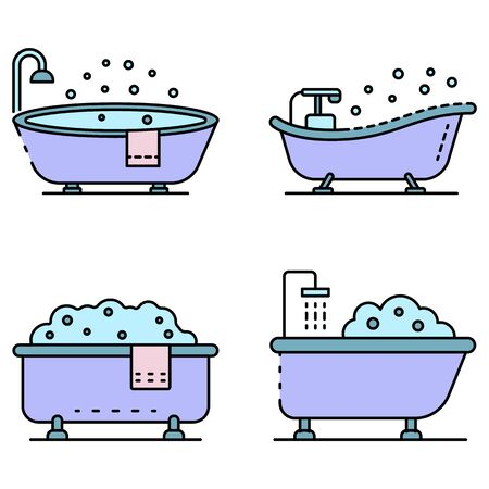 Bathtub icon set. Outline set of bathtub vector icons thin line color flat isolated on white 向量圖像
