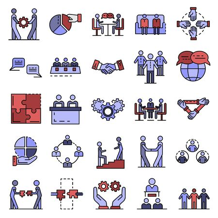 Cohesion icon set. Outline set of cohesion vector icons thin line color flat isolated on white
