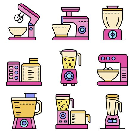 Food processor icons set. Outline set of food processor vector icons thin line color flat isolated on white