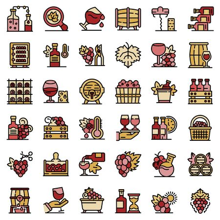 Winemaker icons set line color vector