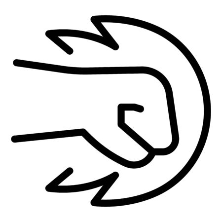 Fist flame icon, outline style Vettoriali