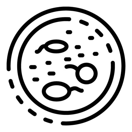 Cells in petri icon, outline style
