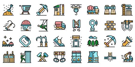 Industrial climber icons set line color vector