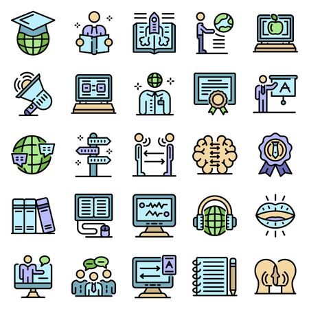 Foreign language teacher icons set line color vector