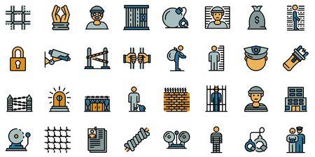 Prison icons set line color vector Çizim