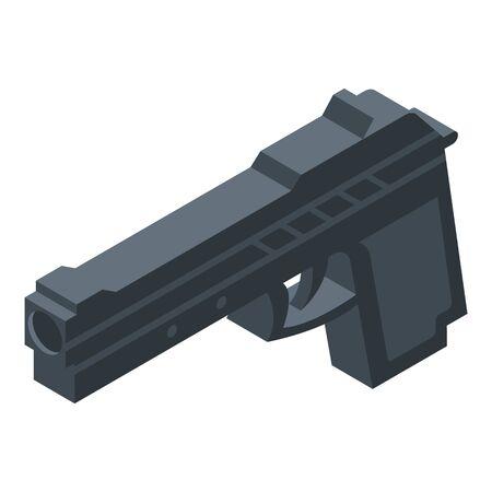 Policeman gun icon. Isometric of policeman gun vector icon for web design isolated on white background Ilustração
