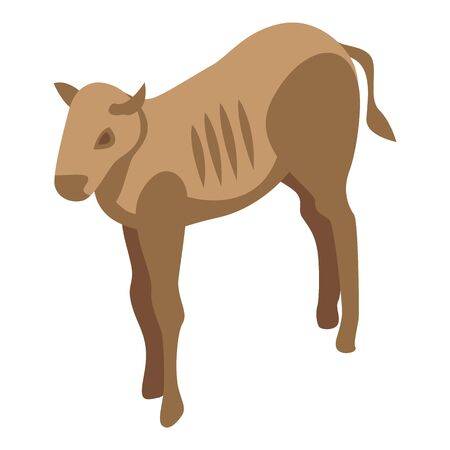 African wildebeest icon. Isometric of african wildebeest vector icon for web design isolated on white background