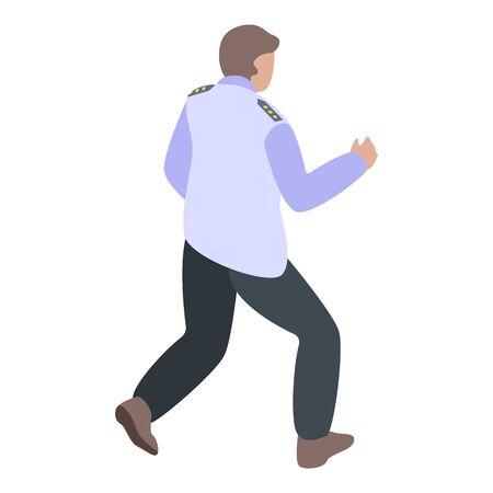 Running policeman icon, isometric style Çizim