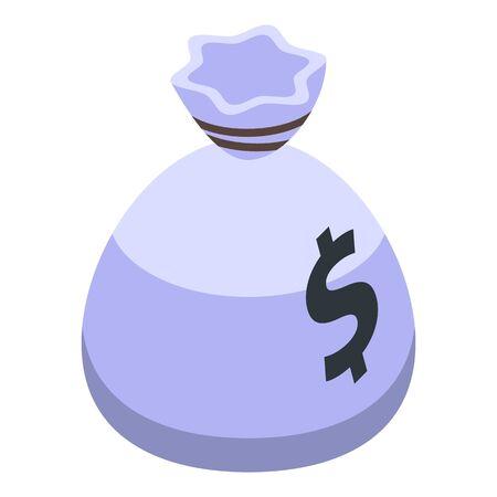 Policeman take money bag icon. Isometric of policeman take money bag vector icon for web design isolated on white background Ilustração
