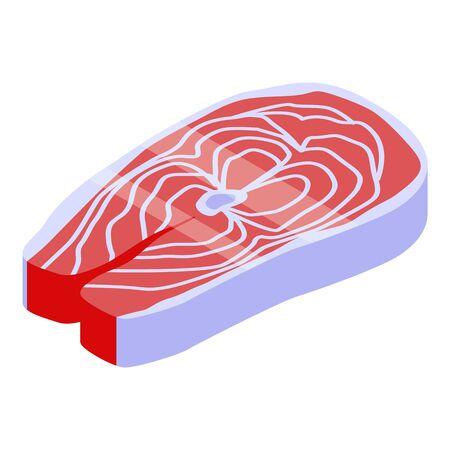 Salmon meat icon, isometric style