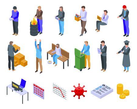 Jobless icons set, isometric style