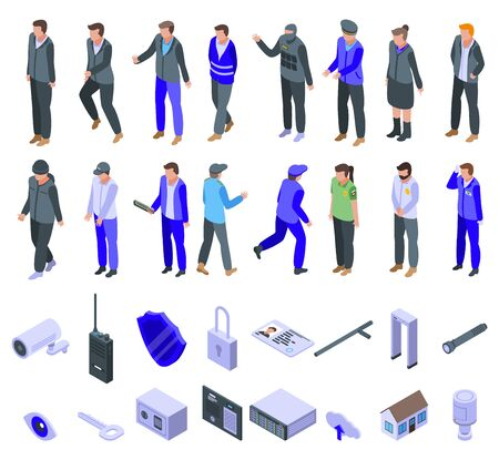 Security service icons set, isometric style