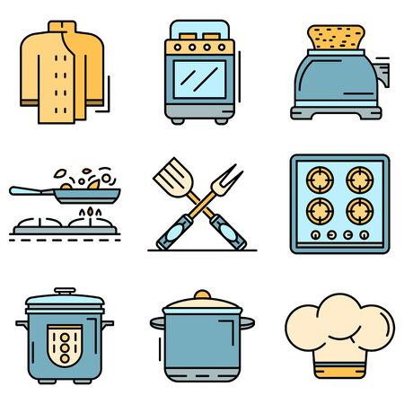 Cooker icon set line color vector