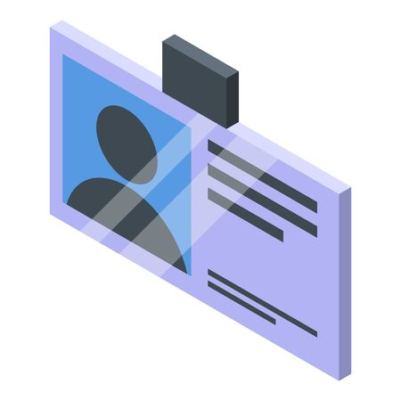 Personal guard id card icon, isometric style Ilustração