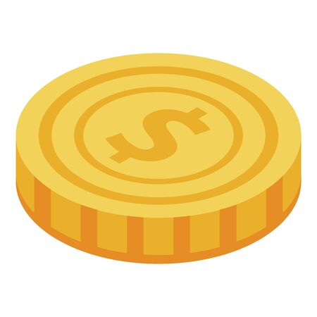 Gold coin icon, isometric style 向量圖像