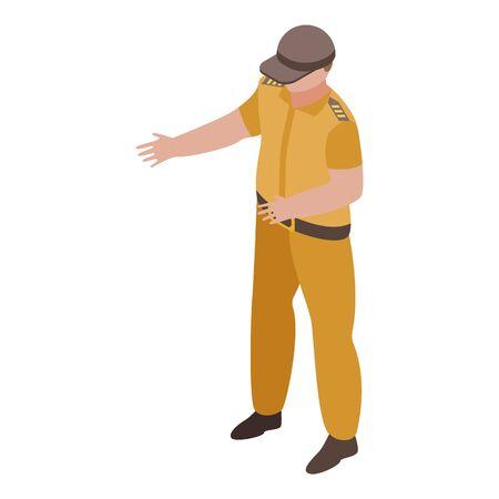 Policeman with desert color icon, isometric style Ilustração