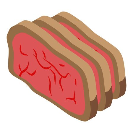 Cutted meat icon, isometric style Ilustracja
