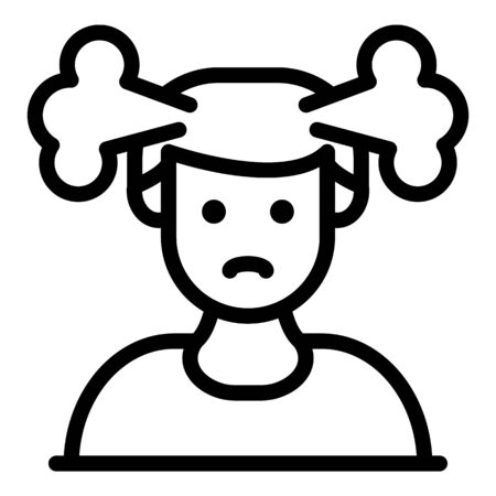 Smoke out of head icon, outline style Ilustração