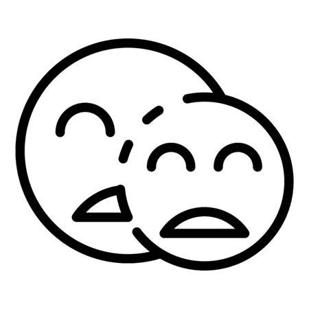 Two sad smiles icon, outline style 矢量图像