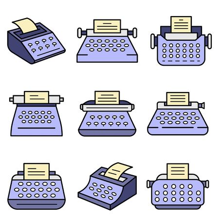 Typewriter icon set. Outline set of typewriter vector icons thin line color flat isolated on white