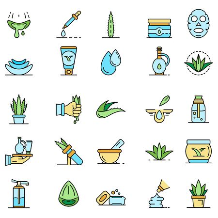 Aloe vera icon set. Outline set of aloe vera vector icons thin line color flat isolated on white  イラスト・ベクター素材