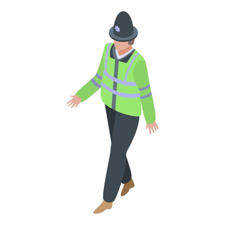Policeman walking icon. Isometric of policeman walking vector icon for web design isolated on white background Ilustração