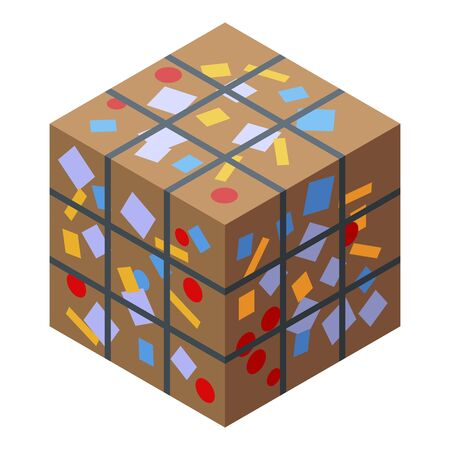 Compressed garbage cube icon, isometric style 일러스트