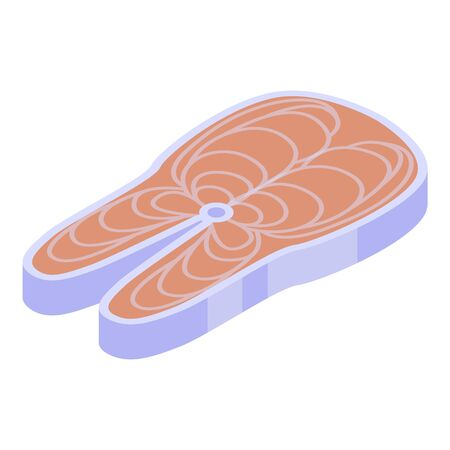 Cutted fish icon, isometric style