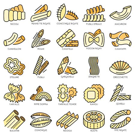 Pasta icon set. Outline set of pasta vector icons thin line color flat isolated on white