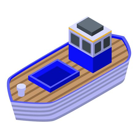 Fish farm ship icon. Isometric of fish farm ship vector icon for web design isolated on white background Illustration