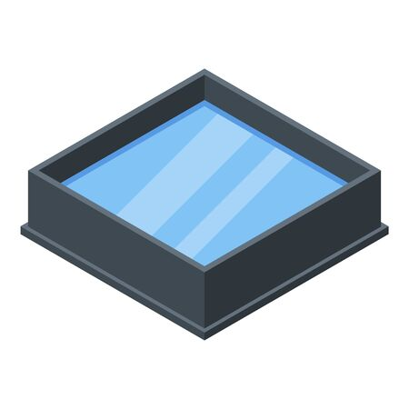 Square fish pool icon. Isometric of square fish pool vector icon for web design isolated on white background 向量圖像