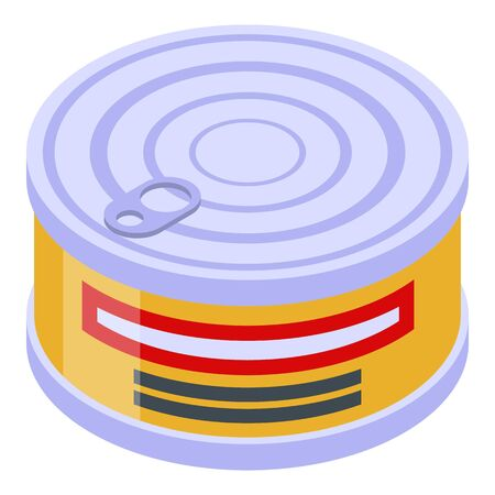 Fish tin can icon. Isometric of fish tin can vector icon for web design isolated on white background