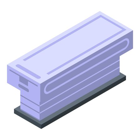 Glass mri bed icon, isometric style