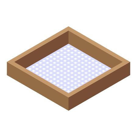 Wood frame sieve icon. Isometric of wood frame sieve vector icon for web design isolated on white background