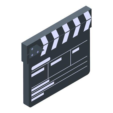 Production clapper icon, isometric style Ilustração