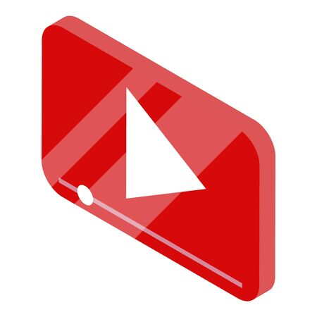 Video play button icon, isometric style
