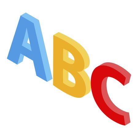 Foreign language alphabet icon, isometric style Stock Illustratie