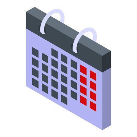 Foreign language calendar icon, isometric style