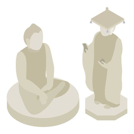 Bongeunsa temple icon, isometric style  イラスト・ベクター素材