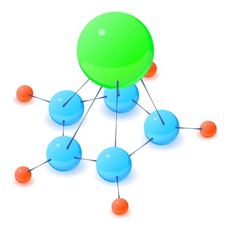 Multicolored molecule icon, isometric style