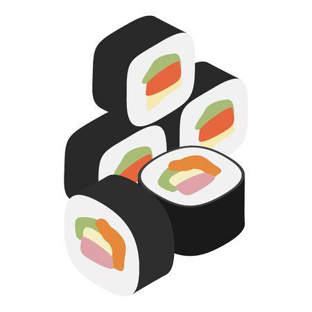 Kimbap icon, isometric style