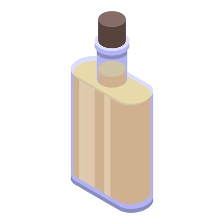 Virgin olive oil bottle icon, isometric style