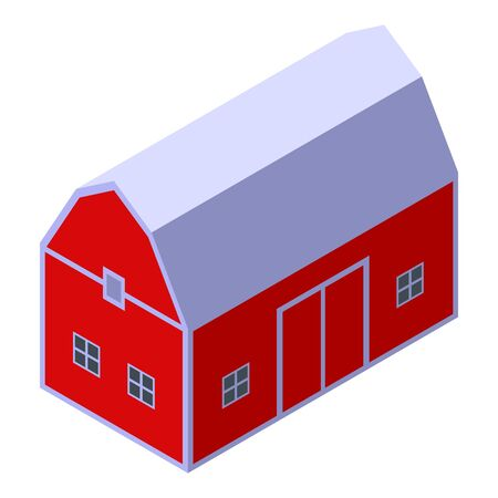 Farm red barn icon. Isometric of farm red barn vector icon for web design isolated on white background Ilustrace