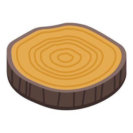 Slice tree stump icon, isometric style Illustration