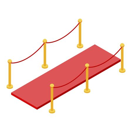 Vip red carpet barrier icon, isometric style Illustration