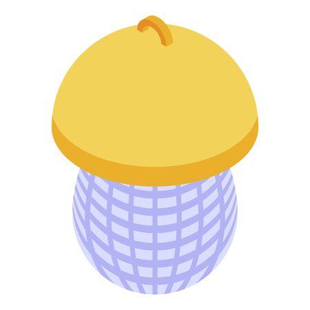 Net bird feeder icon, isometric style