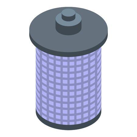Steel bird feeder icon, isometric style Illustration
