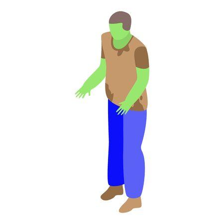 Fear zombie icon, isometric style Ilustração