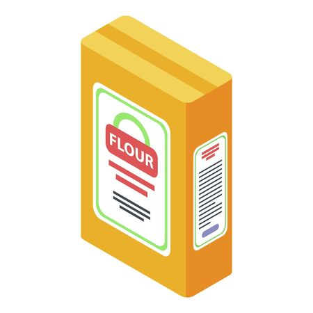 Flour package icon, isometric style